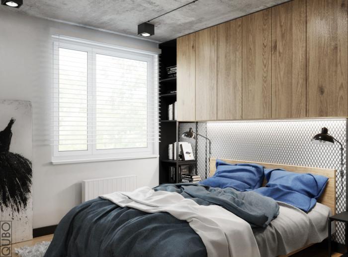 sypialnia industrialna drewno beton stal