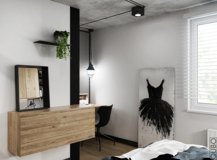 sypialnia beton stal3